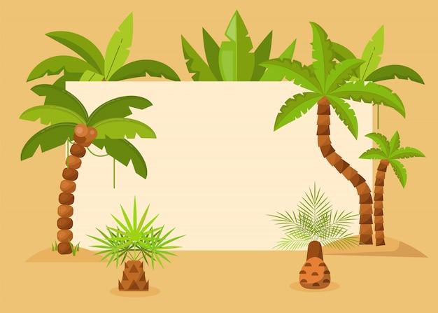 Пальмовые деревья кадр векторные иллюстрации. летний тропический фон с экзотическими пальмовых листьев и деревьев кадр. сохранить дату. туристический флаер, приглашение на вечеринку, экологическое объявление. Premium векторы