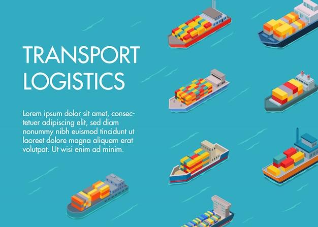 海の貨物物流輸送とトラックテキストテンプレート。輸出入輸送産業を備えた海洋および海上コンテナ船。船の物流を輸送します。 Premiumベクター
