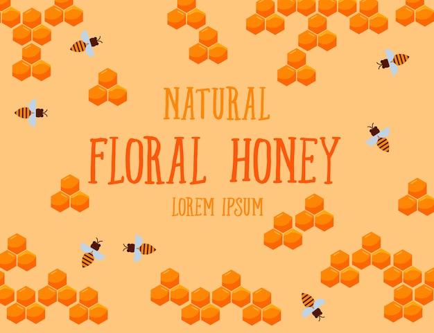 Текстура натурального цветочного меда с сотами и пчелой Premium векторы