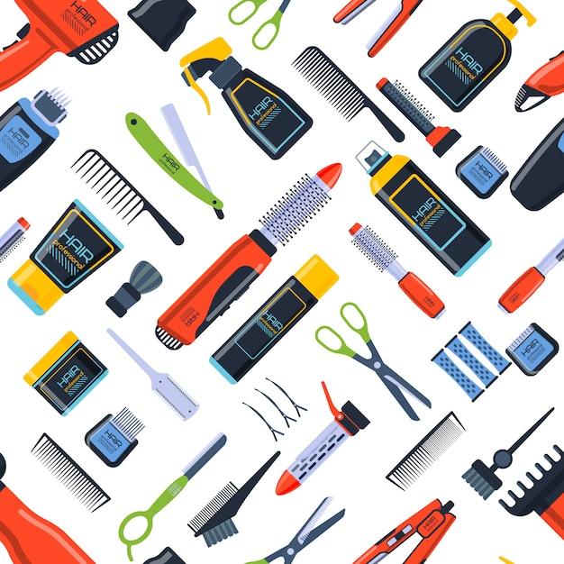 理髪店のシームレスパターン。美容院サロンフラットアイコン背景 Premiumベクター