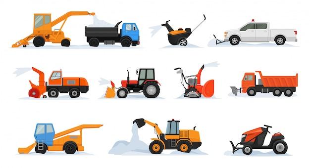 除雪ベクトル冬車両ショベルブルドーザークリーニング除雪雪除雪装置トラクタートラック除雪機輸送のセット Premiumベクター