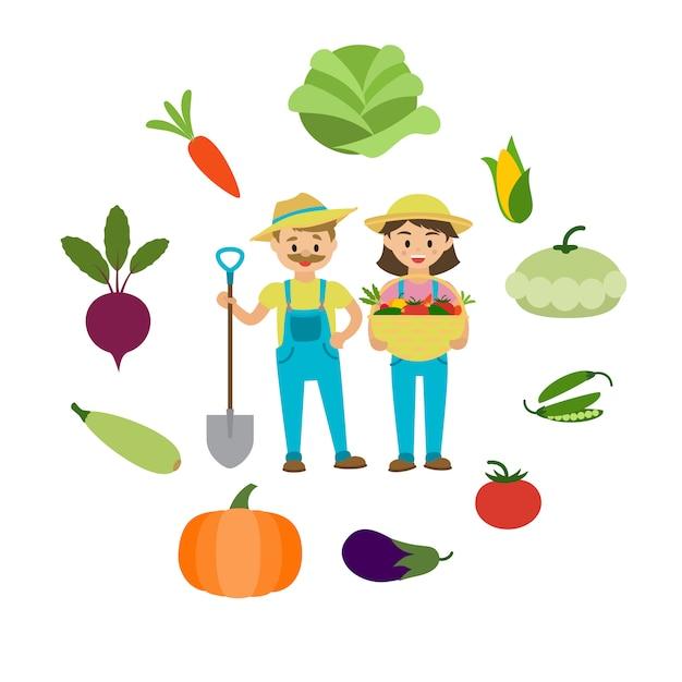 農場の野菜と農家の家族。 Premiumベクター