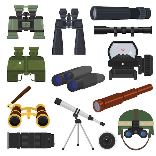 双眼鏡ベクトル光学機器スパイグラス光学系ルック-見る見る遠景図 Premiumベクター
