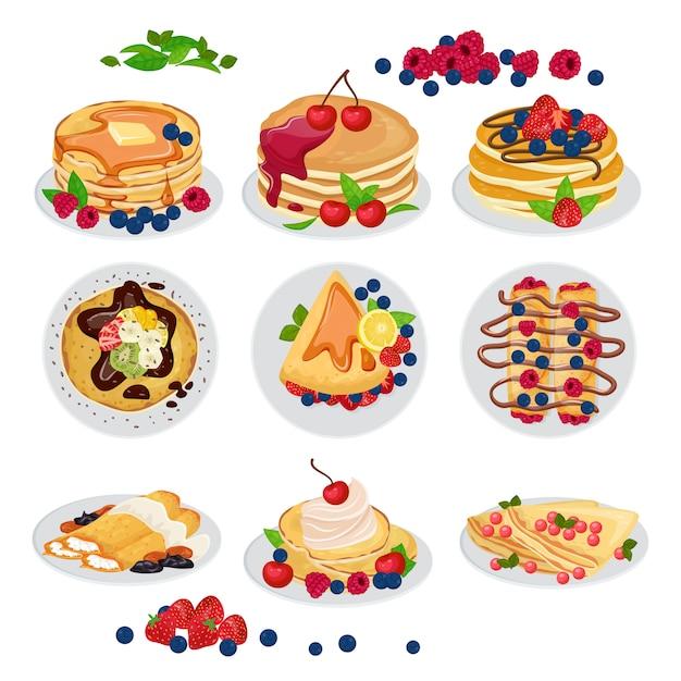 パンケーキベクトル朝食甘い自家製料理デザートとおいしいケーキスナック Premiumベクター