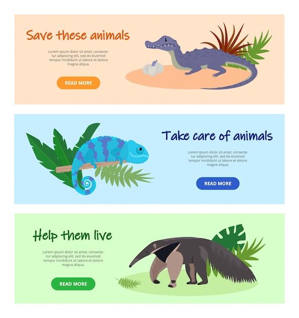 消える野生動物のイラストを保存します。ウェブサイトのページは、バナーセットをデザインします。自然、野生生物、動物を保護します。アリクイ、ワニ、カメレオン動物。 Premiumベクター
