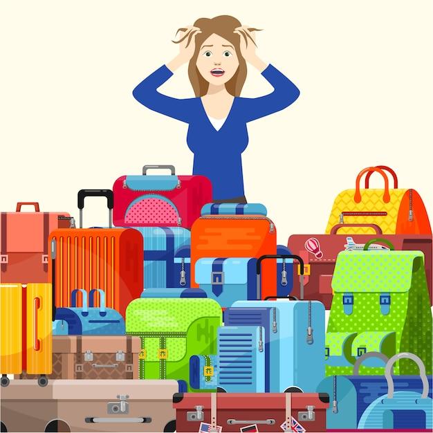 ショックを受けた若い女性の女の子の旅行者は、スーツケースに問題がありすぎて、イラストのフラットスタイルをとることができません。旅行用の荷物袋を梱包します。 Premiumベクター