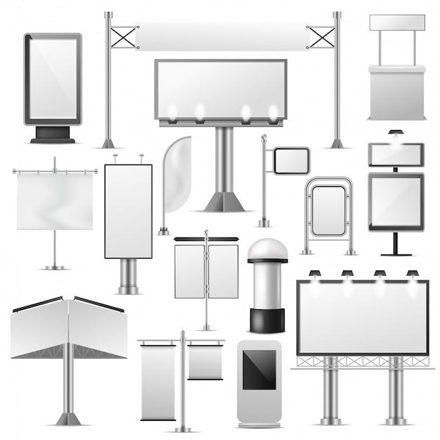 Набор пустых рекламных векторных рекламных щитов Premium векторы
