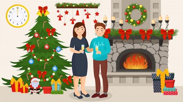 Пара празднует новый год вместе в украшенной комнате с елки Premium векторы