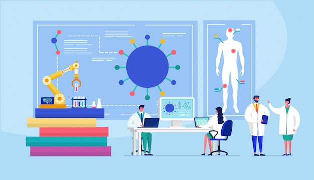 Лаборатория коронавирусной вакцины противовирусной биологии исследования антивирус врачей иллюстрации. ученые в лаборатории, химики-исследователи с лабораторным оборудованием Premium векторы