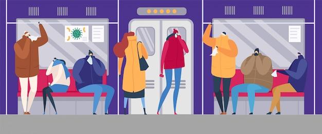 Люди на улице гриппа сезон эпидемических вирусных заболеваний иллюстрации. больная семья лечит больных гриппом, простужает людей в маске на улице, в общественном транспорте. Premium векторы
