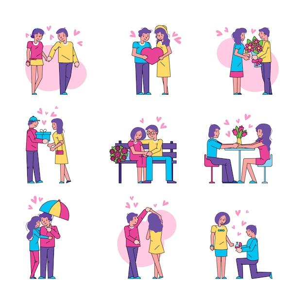 分離された愛の図のカップルの人々は、白で設定します。 Premiumベクター