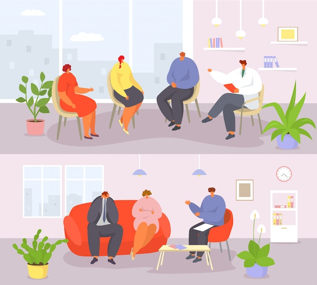 Люди и пары сессии психотерапии с знаменами иллюстрации психолога. Premium векторы