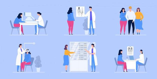 眼科の図、眼科医、眼科の患者。 Premiumベクター