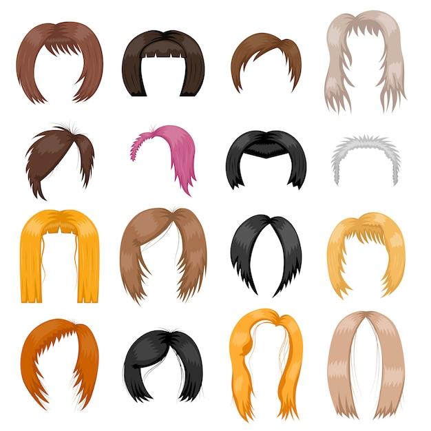 かつら髪型ベクトルイラスト。 Premiumベクター