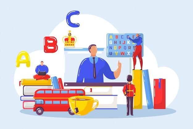Изучение английского иностранных языков с учителем онлайн в группе студентов иллюстрации. Premium векторы