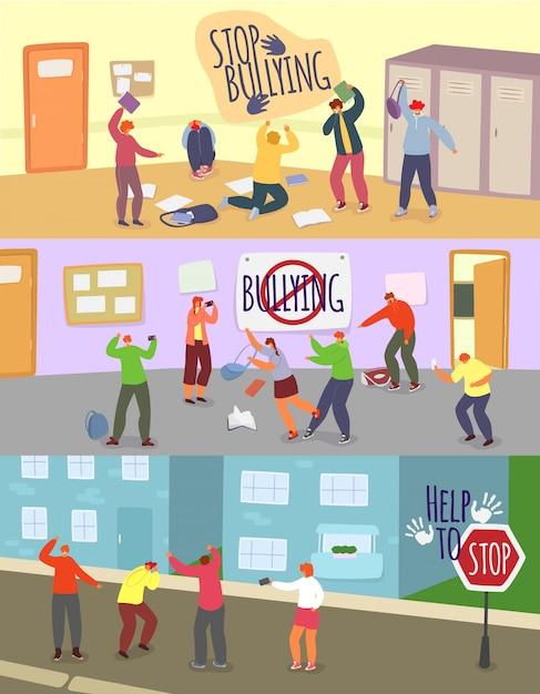 Школьники издевательства иллюстрации, мультфильм злой мальчик девочка подросток насмешливый несчастный одноклассник, остановить проблему хулигана набор Premium векторы