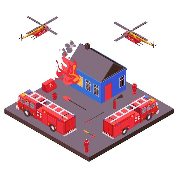 消防の緊急救助装置は燃えている家の図を消滅させました。消防車、ヘリコプター。 Premiumベクター