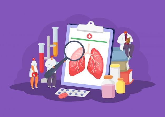 Здравоохранение легких с концепцией докторов медицинской иллюстрации диагноза, здравоохранения и обработки. Premium векторы