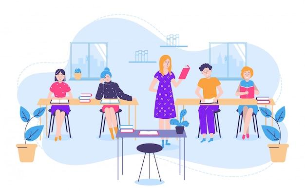 クラスのイラストの教科書と小さな女性男性、学生、教師と読書と教育の概念。 Premiumベクター