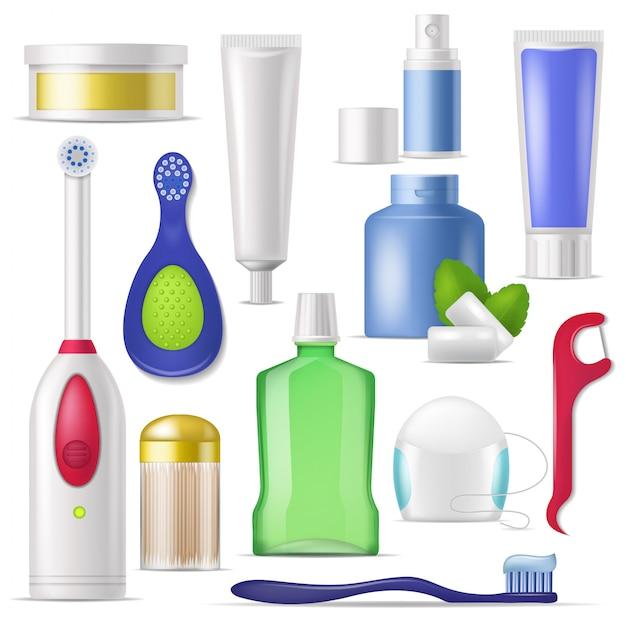 Зубная щетка и зубная паста вектор гигиены полости рта с полосканием для рта для чистки зубов иллюстрации стоматология набор зубной нитью или зубочисткой изолированы Premium векторы