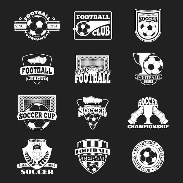 サッカーサインベクトルを設定します。 Premiumベクター