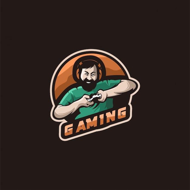 ゲームイラストのロゴ Premiumベクター
