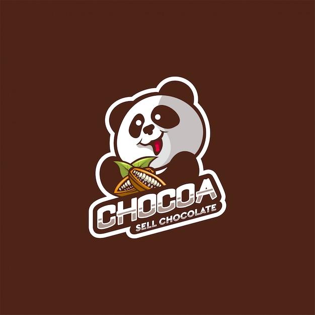 パンダチョコレートのロゴデザイン Premiumベクター