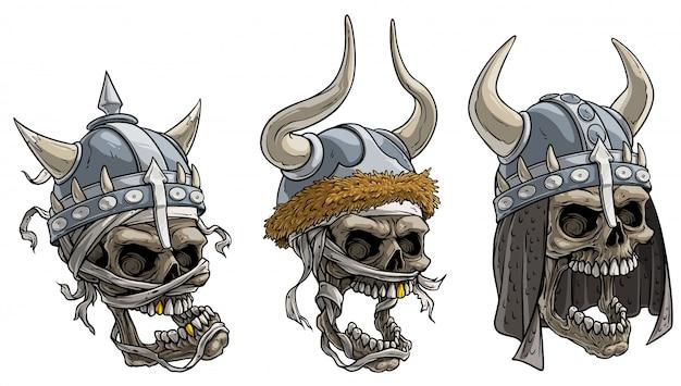 漫画のバイキング戦士の頭蓋骨の金属製のヘルメット Premiumベクター