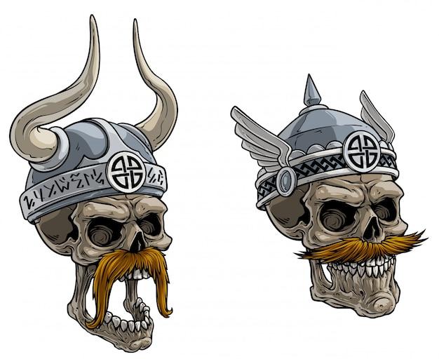 Мультфильм череп викингов в металлическом шлеме Premium векторы