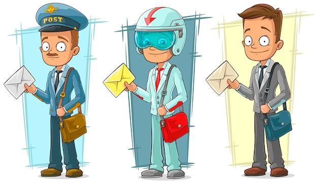 手紙の文字セットを持つ漫画郵便屋さん Premiumベクター
