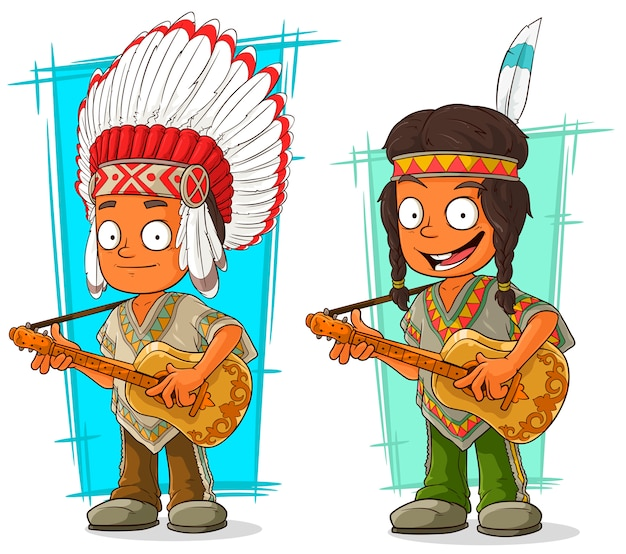 Мультфильм индийский вождь и мальчик набор символов Premium векторы