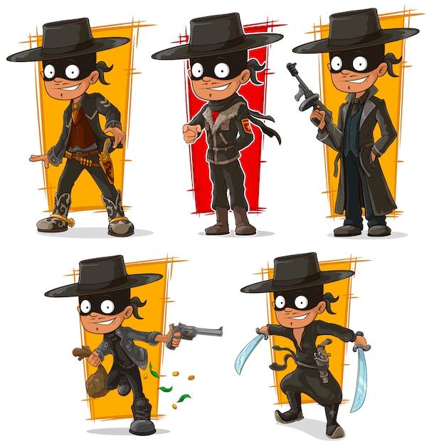 Мультяшный бандит в черной маске Premium векторы