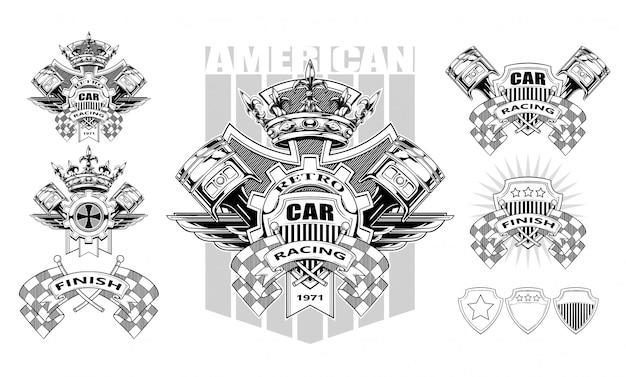 ピストンとレーシングフラグを備えたグラフィックの紋章 Premiumベクター