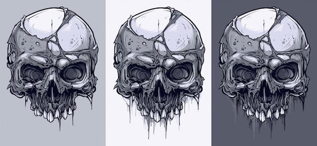 詳細なグラフィックの黒と白の人間の頭蓋骨セット Premiumベクター