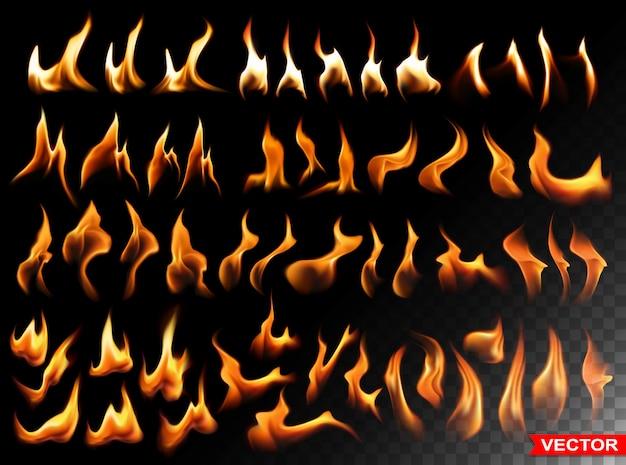 Реалистичный горящий огонь пылает яркими элементами Premium векторы