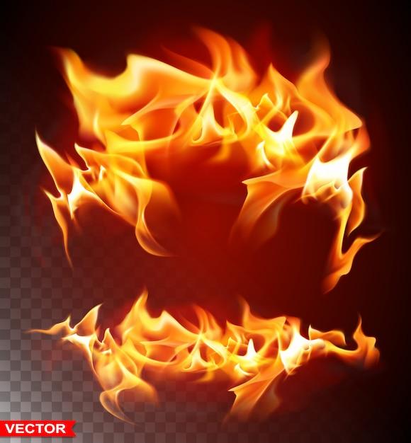 Реалистичное пламя горящего огня яркий элемент Premium векторы