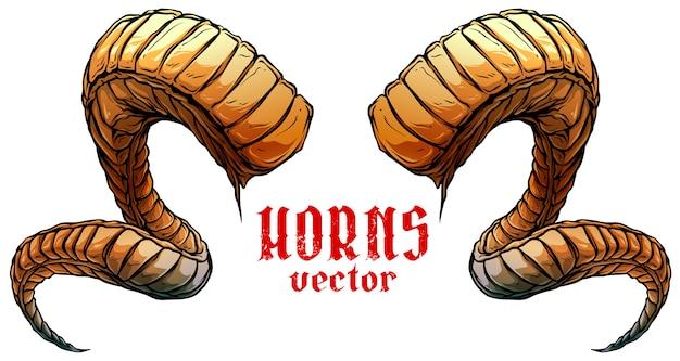 Мультфильм большой острый спираль животных рога вектор Premium векторы