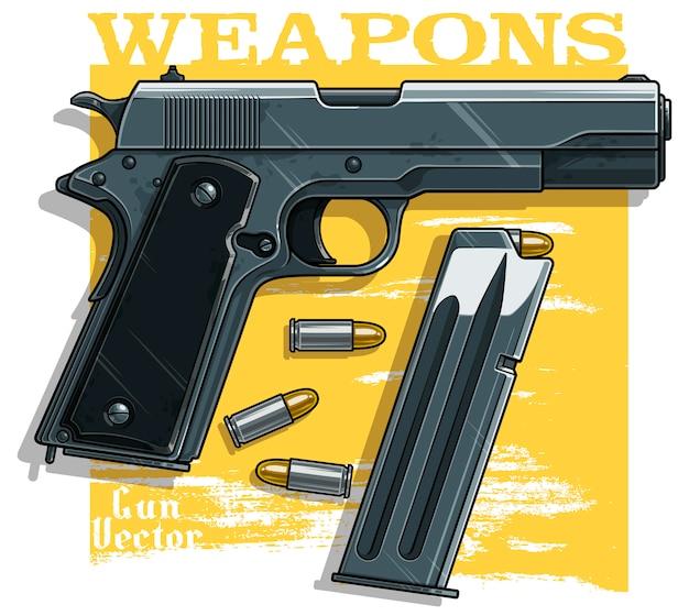 Детализированный графический пистолет с патронами Premium векторы
