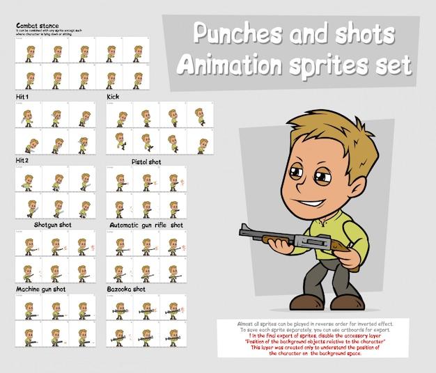 Набор листов спрайтов анимации персонажа мультфильма Premium векторы