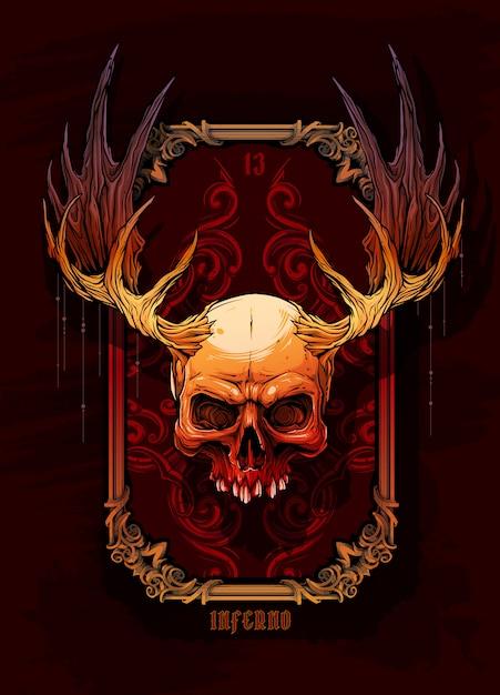 Графический красочный человеческий череп с рогами лося Premium векторы