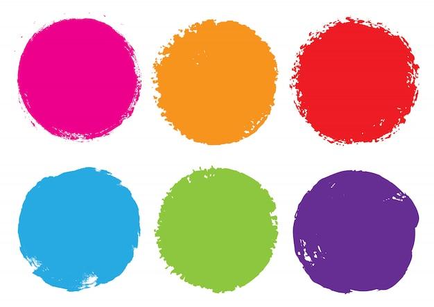 カラーグランジラウンドフレーム Premiumベクター