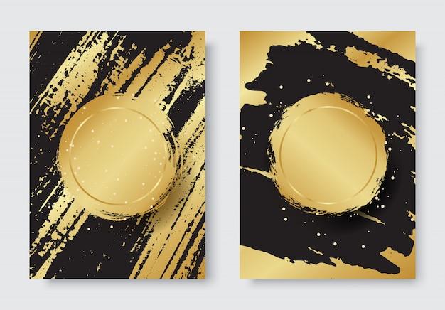 ゴールドと黒の背景にグランジの高級スタイルセット Premiumベクター