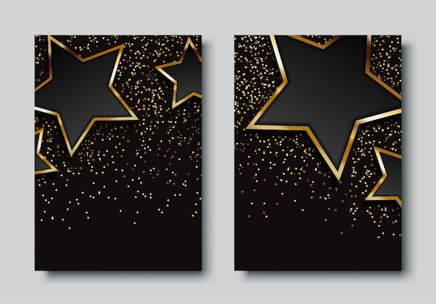 星と豪華な背景デザインセット Premiumベクター