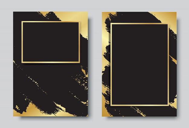 金と黒の背景にフレームデザインセット Premiumベクター
