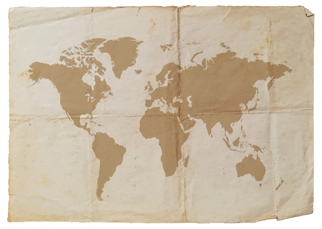 オールド紙と世界地図 Premiumベクター