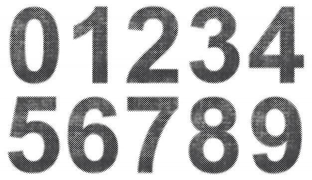 グランジハーフトーン番号 Premiumベクター