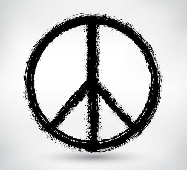 グランジスタイルの平和のシンボル Premiumベクター