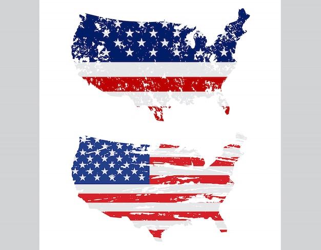 グランジスタイルのアメリカ国旗マップ Premiumベクター