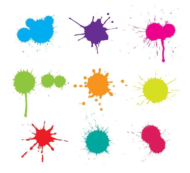 Коллекция пятна краски Бесплатные векторы