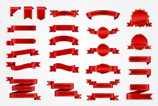 赤いリボンのコレクション 無料ベクター